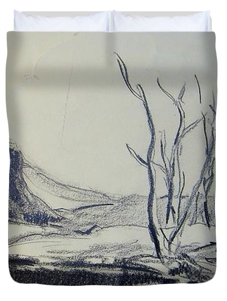 Colorado Pencil Sketch Duvet Cover by Judith Redman