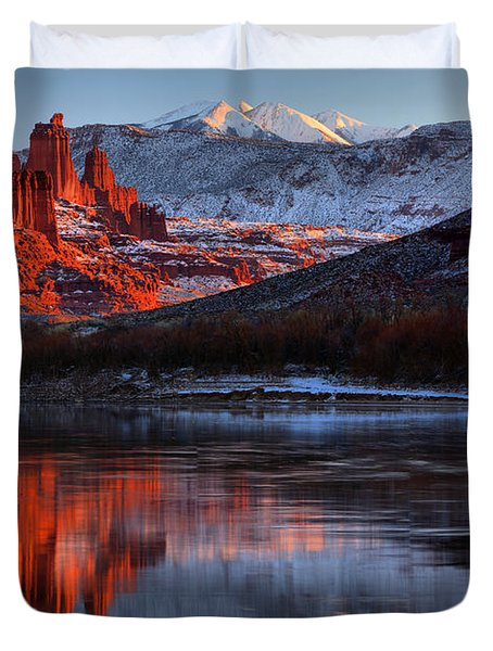 Duvet Cover featuring the photograph Colorado Red Tower Reflections by Adam Jewell