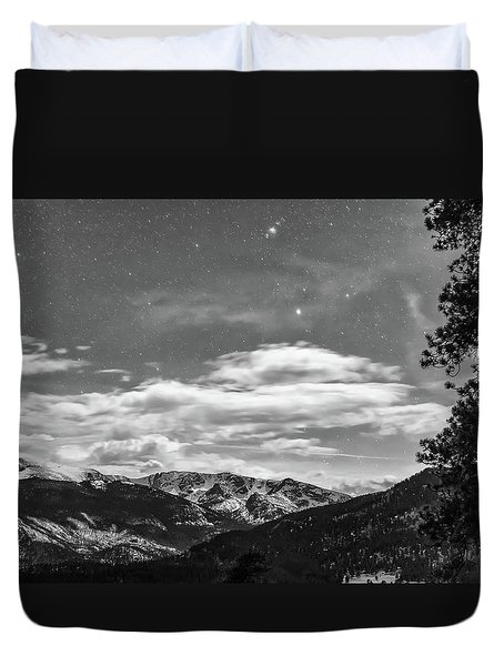 Duvet Cover featuring the photograph Colorado Rocky Mountain Evening View In Black And White by James BO Insogna