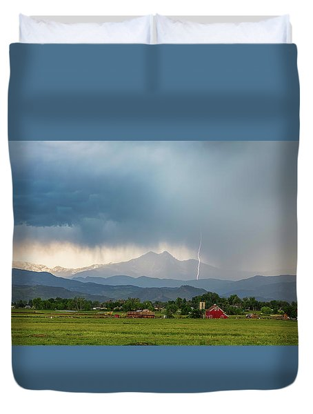 Duvet Cover featuring the photograph Colorado Rocky Mountain Red Barn Country Storm by James BO Insogna