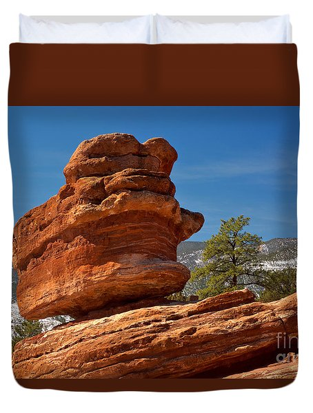 Duvet Cover featuring the photograph Colorado Springs Balanced Rock by Adam Jewell