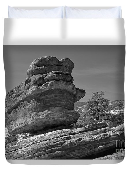 Duvet Cover featuring the photograph Colorado Springs Balanced Rock Black And White by Adam Jewell