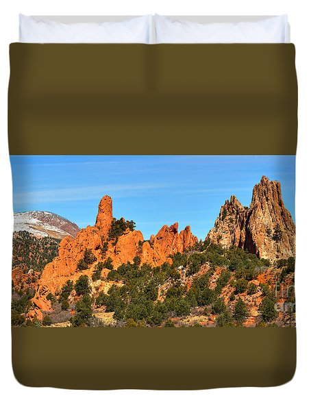 Duvet Cover featuring the photograph Colorado Springs Garden Of The Gods High Point Panorama by Adam Jewell