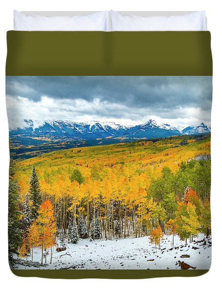 Colorado Valley Of Autumn Color Duvet Cover