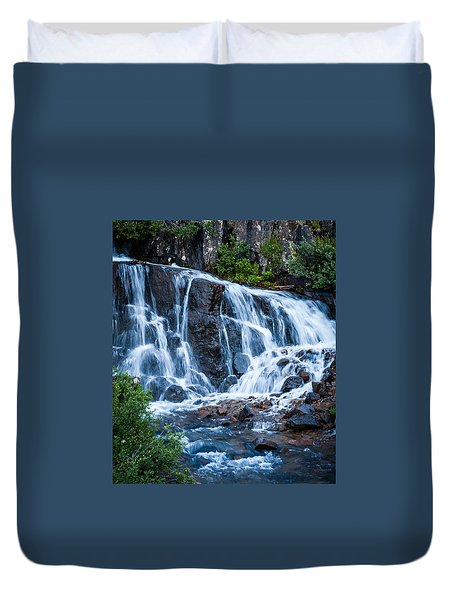 Duvet Cover featuring the photograph Colorado Waterfall by Jay Stockhaus