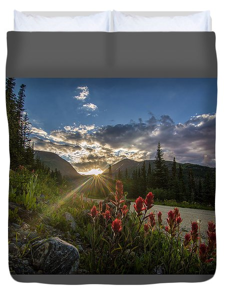 Colorado Wildflowers Under Evening Sun Duvet Cover