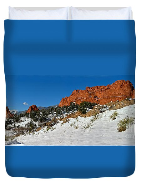 Duvet Cover featuring the photograph Colorado Winter Red Rock Garden by Adam Jewell