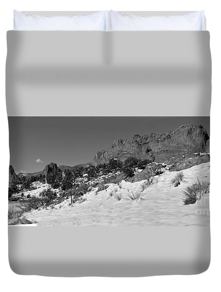Duvet Cover featuring the photograph Colorado Winter Rock Garden Black And White by Adam Jewell
