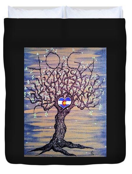 Duvet Cover featuring the drawing Colorado Yoga Love Tree by Aaron Bombalicki