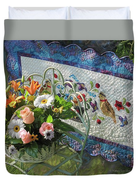 Duvet Cover featuring the mixed media Colordance With Quail Quilt by Nancy Lee Moran