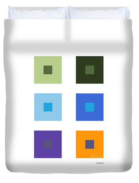Colored 6 Squares. Duvet Cover