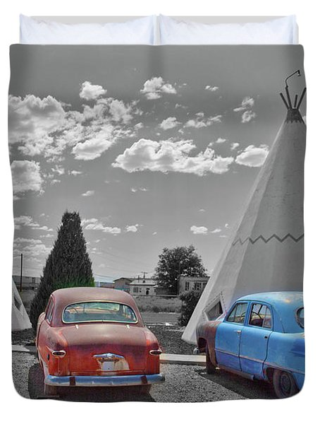 Colored Cars And Tee Pee Motel--holbrook Duvet Cover