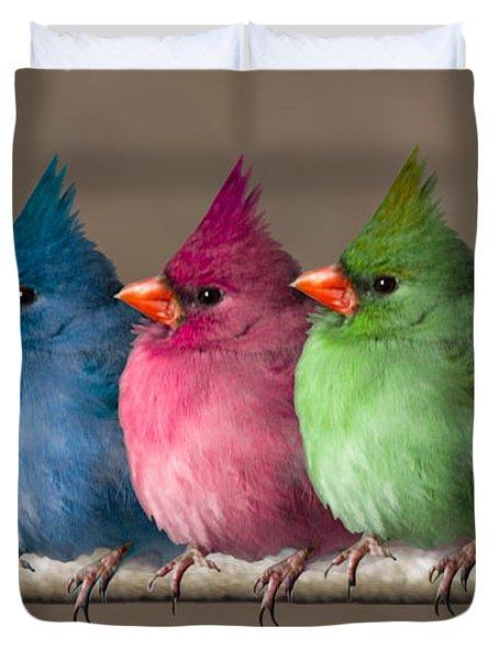 Colored Chicks Duvet Cover by John Haldane