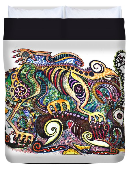 Colored Cultural Zoo D Version 2 Duvet Cover