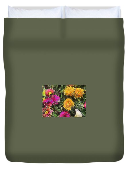 Colored Flowers Duvet Cover