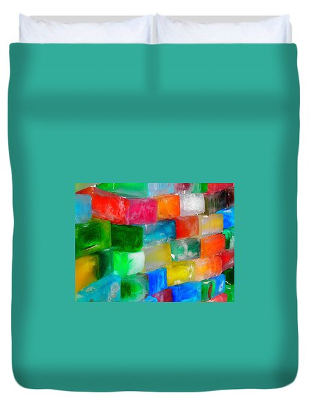 Colored Ice Bricks Duvet Cover