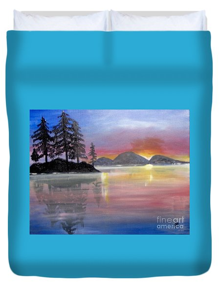 Duvet Cover featuring the painting Colored Lake by Saundra Johnson
