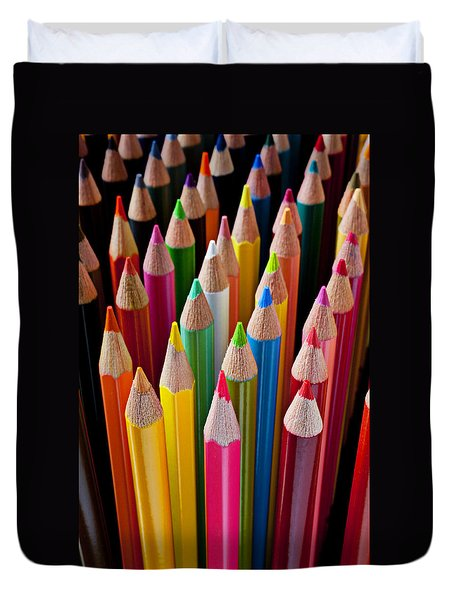 Colored Pencils Duvet Cover by Garry Gay