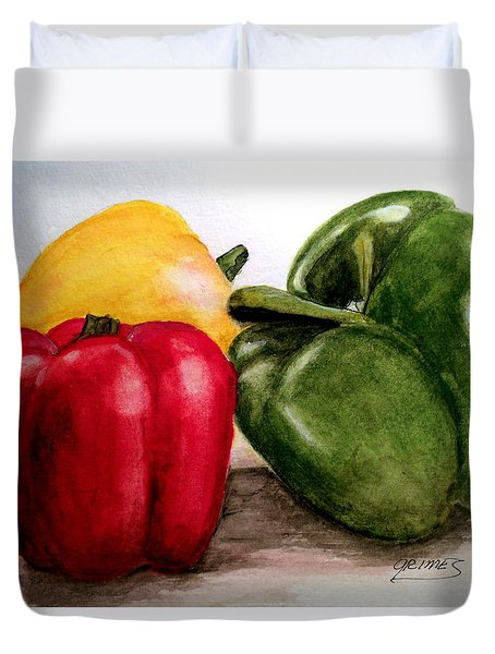 Colored Peppers Duvet Cover