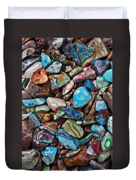 Colored Polished Stones Duvet Cover by Garry Gay