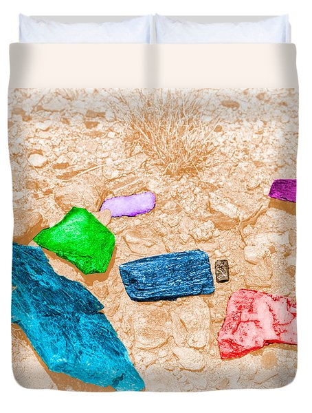 Duvet Cover featuring the digital art Colored Rocks 1 by Bartz Johnson