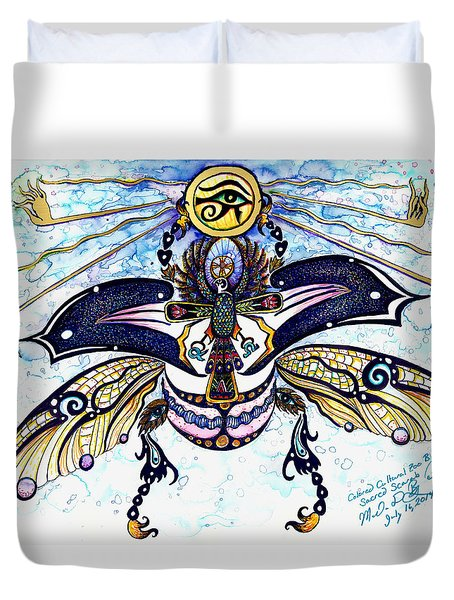 Colored Sacred Scarab In Digital Gold Duvet Cover