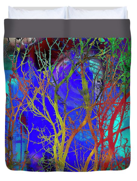 Duvet Cover featuring the photograph Colored Tree Branches by Susan Stone
