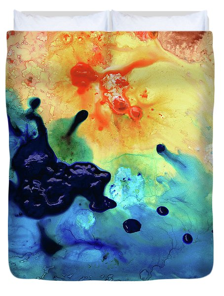 Duvet Cover featuring the painting Colorful Abstract Art - Blue Waters - Sharon Cummings by Sharon Cummings