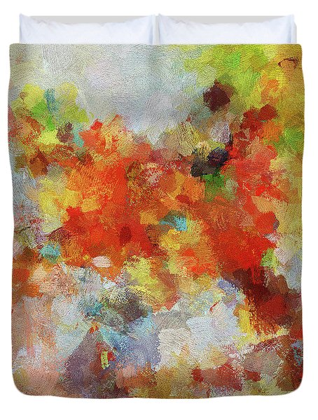 Duvet Cover featuring the painting Colorful Abstract Landscape Painting by Ayse Deniz