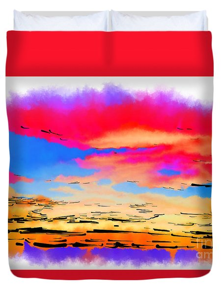 Colorful Abstract Sunset Duvet Cover