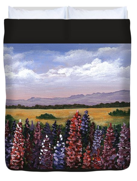 Duvet Cover featuring the painting Colorful Afternoon by Anastasiya Malakhova