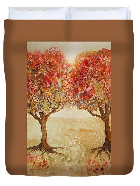 Duvet Cover featuring the painting Colorful Autumn Twin Trees by Kerri Ligatich