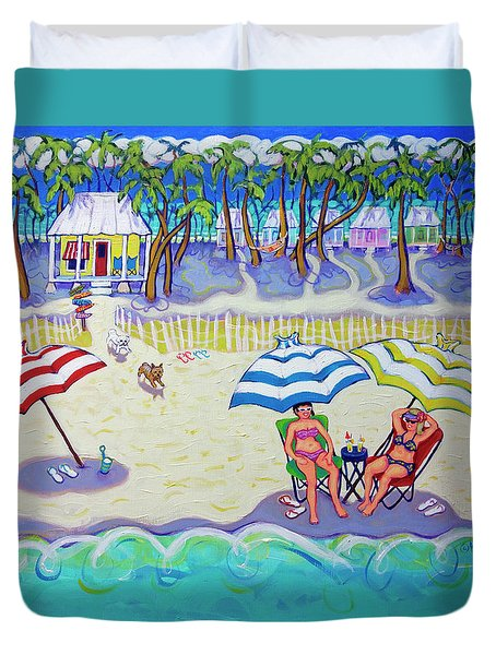 Colorful Beach Hideaway Duvet Cover