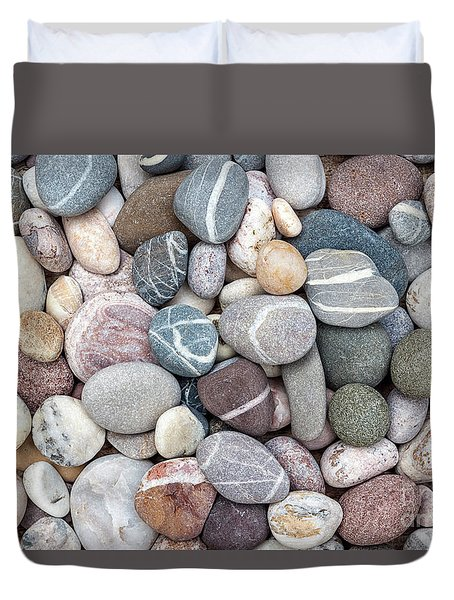 Duvet Cover featuring the photograph Colorful Beach Pebbles by Elena Elisseeva