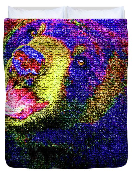 Colorful Bear Duvet Cover by Karol Livote