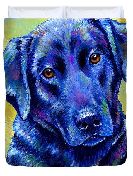Colorful Black Labrador Retriever Dog Duvet Cover