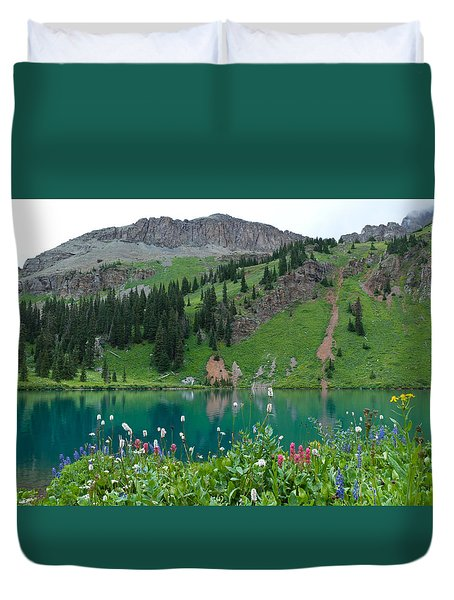 Colorful Blue Lakes Landscape Duvet Cover