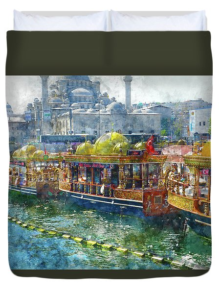 Colorful Boats In Istanbul Turkey Duvet Cover
