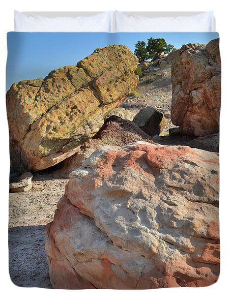 Colorful Boulders In The Bentonite Site On Little Park Road Duvet Cover