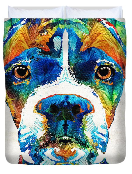Colorful Boxer Dog Art By Sharon Cummings  Duvet Cover