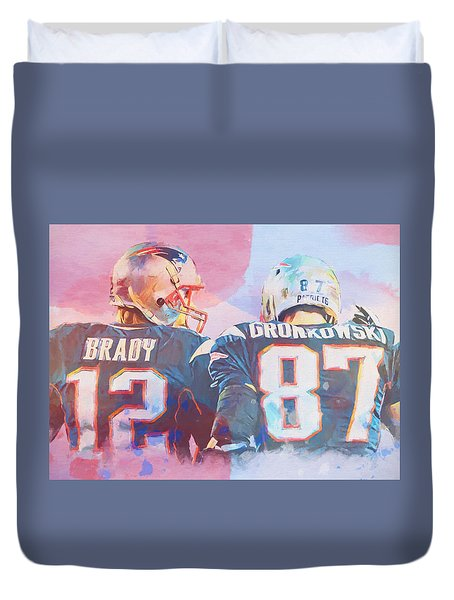 Duvet Cover featuring the painting Colorful Brady And Gronkowski by Dan Sproul