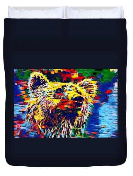 Colorful Brown Bear Duvet Cover