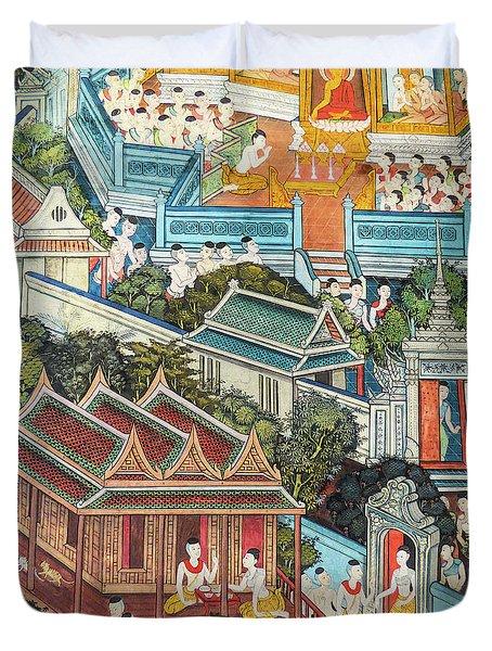 Colorful Thai Buddhist Mural  Duvet Cover