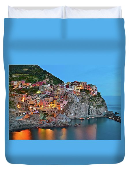 Duvet Cover featuring the photograph Colorful Buildings Colorful Lights by Frozen in Time Fine Art Photography