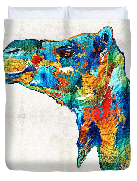 Colorful Camel Art By Sharon Cummings Duvet Cover