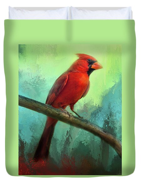 Colorful Cardinal Duvet Cover by Barbara Manis