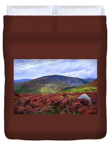 Duvet Cover featuring the photograph Colorful Carpet Of Wicklow Hills by Jenny Rainbow