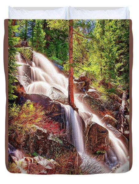Colorful Cascade Waterfall On Tioga Pass Ap Duvet Cover