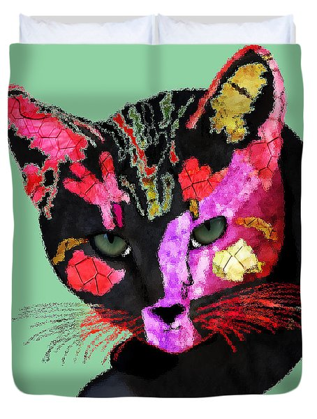 Colorful Cat Abstract Artwork By Claudia Ellis Duvet Cover