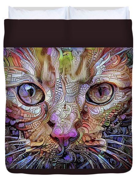 Colorful Cat Art Duvet Cover by Peggy Collins